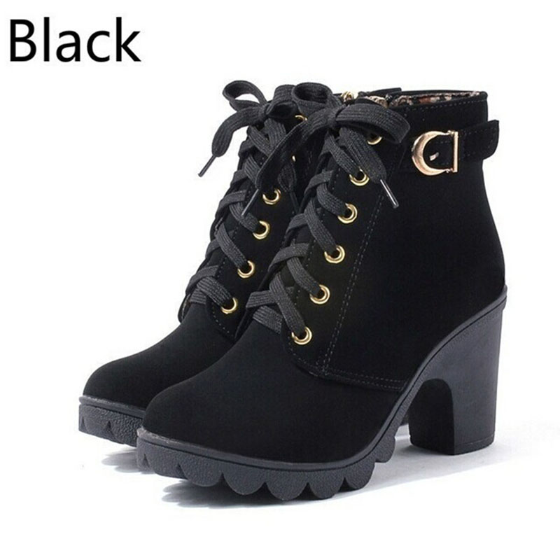 New Autumn Winter Women Ankle Boots High Quality Solid Lace-up European Ladies Shoes PU Fashion High Heels BootsNew Autumn Winter Women Ankle Boots High Quality Solid Lace-up European Ladies Shoes PU Fashion High Heels Boots