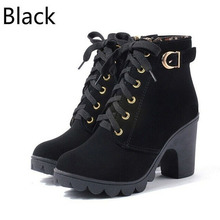 New Autumn Winter Women Ankle Boots High Quality Solid Lace-up European Ladies