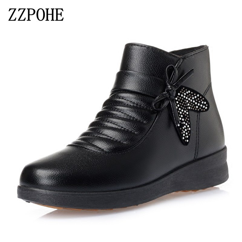 ZZPOHE Women Winter Boots Woman Fashion Casual Wedges Ankle Boots Women Flat Warm Snow Boots Ladies Cotton Shoes camel winter women boots 2015 new shoes retro elegance sheepskin fashion casual ladies boots warm women s boots a53827612