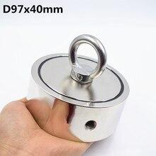 Сильный неодимовый магнит двусторонний D97* 40 мм поисковый магнит крюк 490KGx2 супер мощный спасательный рыболовный магнитный держатель для стаканов
