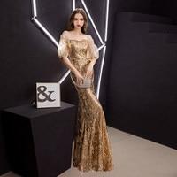 100%real golden bubble sleeve sequin beading mermaid dress queen Victoria/customs size