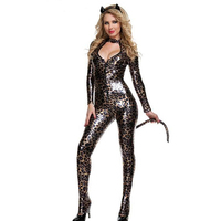 Sexy Women Mesh Leopard Print Catsuit Bodysuit Bodycon Jumpsuit Romper Halloween Cosplay Party Catwoman Costume W297962