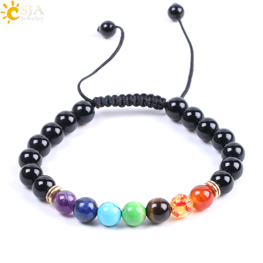 CSJA 7 Chakra Bracelets Men Women Black Onyx Healing Balance Prayer Natural Stone Beads Yoga Strand Bangles Rope Adjustable F087