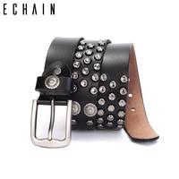 ECHAIN Rivet Vintage Luxury Designer Punk Belts Men High Quality Male Genuine Real Leather Women Waist