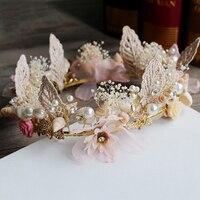 로맨틱 쉘 머리 포도 나무 웨딩 잎 진주 헤어 액세서리 럭셔리 꽃 크리스탈 신부 크라운 핑크 라인 석 왕관 신부