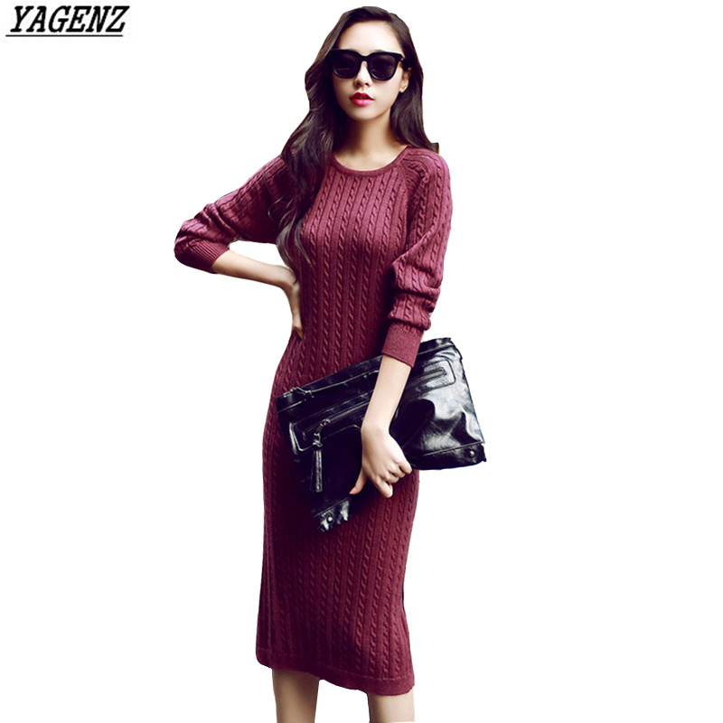 YAGENZ Women 's Knitted Sweater Dress Autumn and Winter Costume Hedging Sweater Round Neck Long Sleeve Pack Hip Knit Dress K223 stylish round neck long sleeve stereo flower embellished knitted dress for women