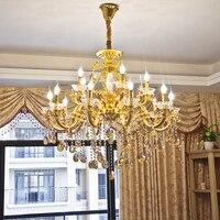 Золото Хрустальная люстра для Гостиная латунь бронзовая люстра украшения Современные светодиодные Люстры Освещение Кухня лампа висит люс