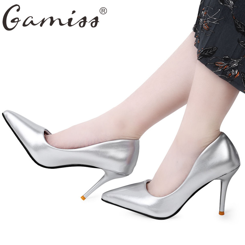 gamiss hot 2017 spring autumn women pumps sexy gold silver high heels shoes fashion pointed toe wedding shoes party women shoes