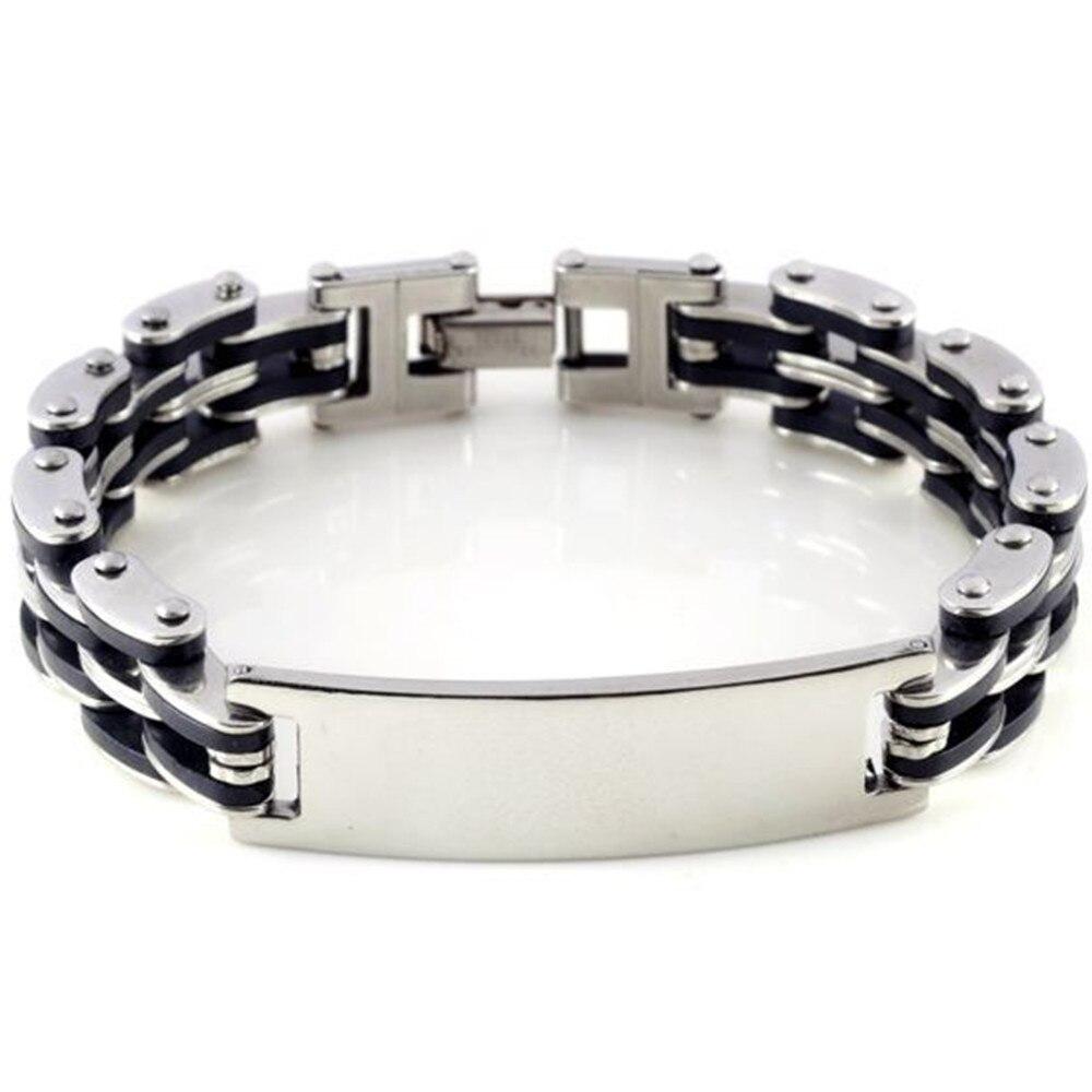 Unisex Silver Stainless Steel Link Chain Black Rubber Men's Bracelet Wrist  Band 85