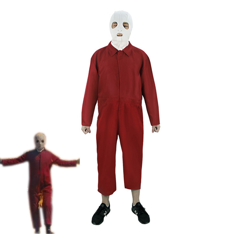 2019 New Scary Movie Us Cosplay Costume Halloween Carnival Uniforms Full Set Red Jumpsuit Mask Gloves image