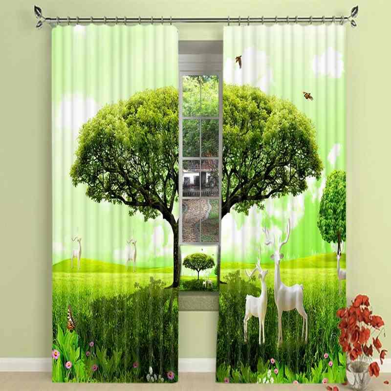 1 Set Blackout Vorhang Grün Baum Deer Bild 3D Druck Fenster Vorhänge Vorhänge Für Wohnzimmer Bett Zimmer Hotel Wandteppich - 2