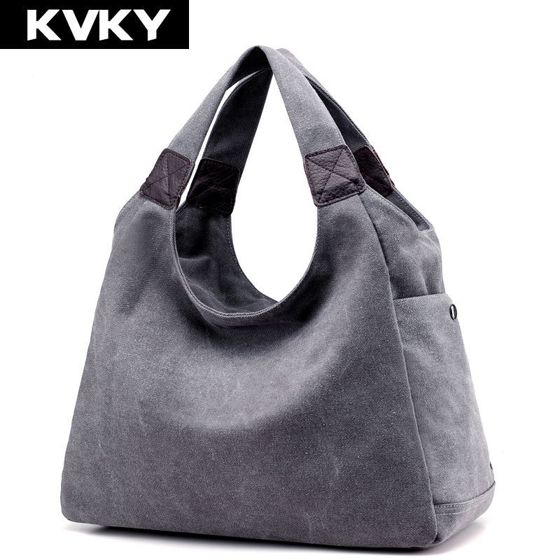 KVKY Brand Canvas Women Bag Women Handbags Fashion Design Ladies Tote Bag Female Solid Big Shoulder Bags Travel Bag Bolsos Mujer aosbos fashion portable insulated canvas lunch bag thermal food picnic lunch bags for women kids men cooler lunch box bag tote