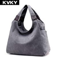 KVKY Brand Canvas Women Bag Women Handbags Fashion Design Ladies Tote Bag Female Solid Big Shoulder