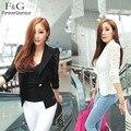 Preço barato Novo Top Coat Sexy Sheer Rendas Senhora Terno casacos Mulheres OL Jacket Magro Formal Black White M L % y