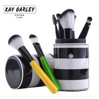 KAY GARLEY 10 sztuk Makeup Muśnięcie ustawia Kosmetyczne Kolorowe Uchwyt Miękkie Włosy oczu Lip Make up Szczotki z Okrągłym Paski Brush Pen Holder