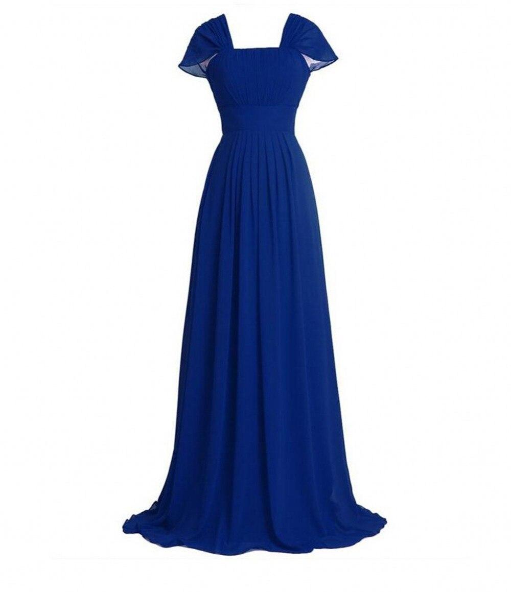 2016 Summer Beach Blue Black White   Bridesmaid     Dress   with Cap Sleeves Long Chiffon   Bridesmaid   Gowns vestido de festa de casamento