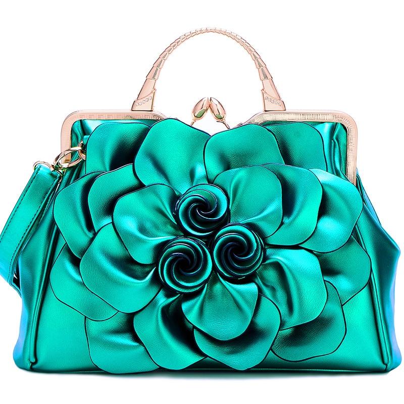 QIAODUO Rose Green Flower Fashion Bags Ladies Luxury Bags 2019 Leather Women Messenger Bags Flowers Bridal Red Handbag Large|Top-Handle Bags|   - AliExpress
