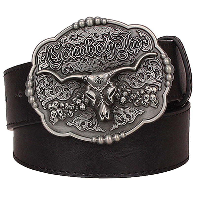 Vintage Men Ladies Western Cowboy Leather Belt Buckle Metal 20 Kinds of Pattern