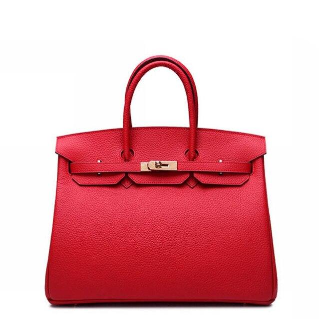 25CM 100% Genuine Leather Classic Women BagHandbag Cowhide Tote Bag Platinum Bag Brand Fashion Embossed leather handbag~16B22