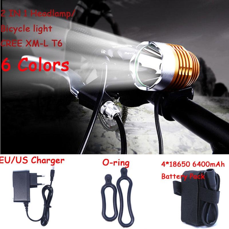 Hot Sale! 1800 Lumen Super Bright XML T6 LED Bike Light Headlamp, Waterproof 3 Mode LED Bicycle Light Flashlight Charger Battery