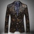2016 Nueva Moda Chaqueta de Los Hombres de Tendencia de La Personalidad de Los Hombres de Traje Chaqueta Blazer Impresión de Oro