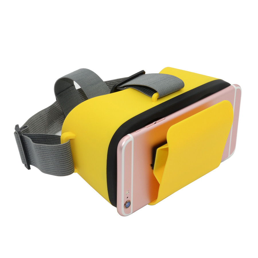 Color Mini 3D VR Virtual Reality Headsets Glasses for 3.5-6.0 inch Smartphones Yellow