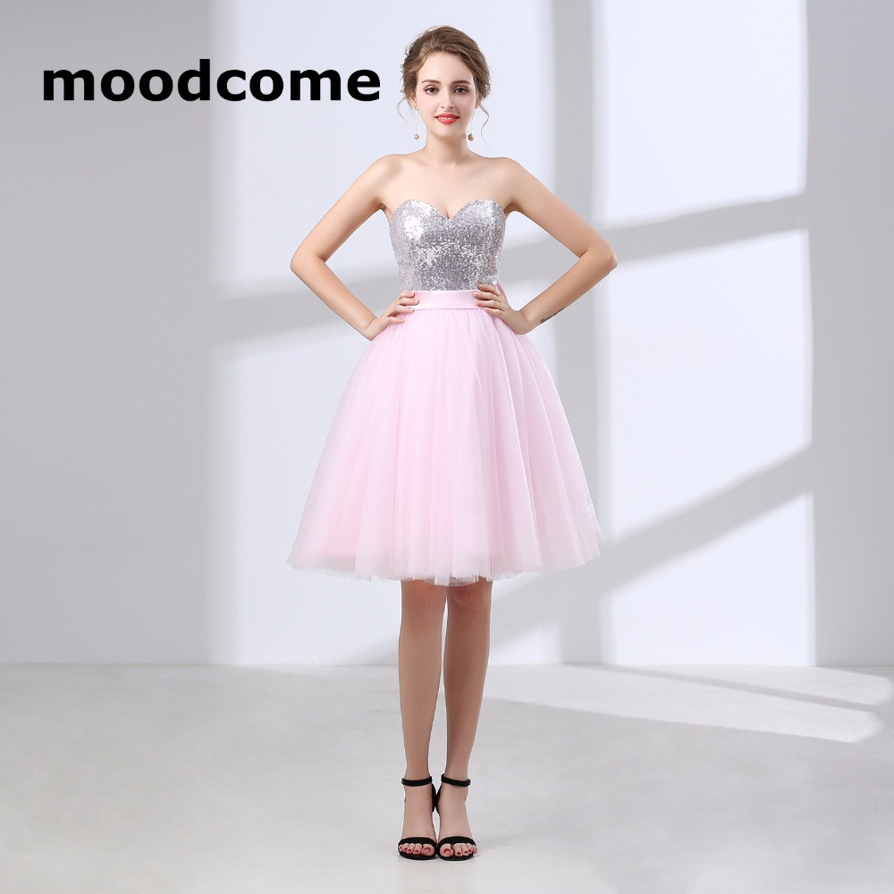 2018 Candy Color Bridesmaid Dresses A Line Tulle Sequins