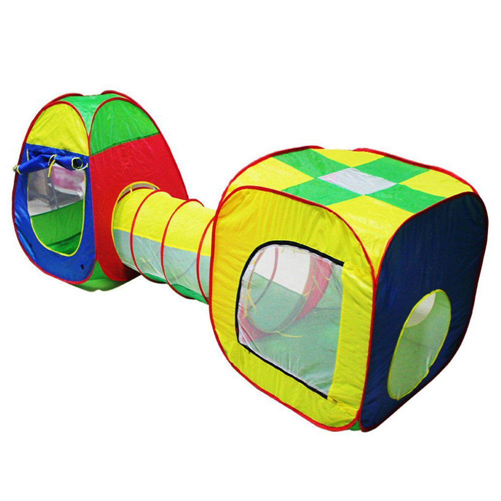Cubby Tube Teepee 3pc Pop up Play Tent Children Tunnel Kids Adventure House