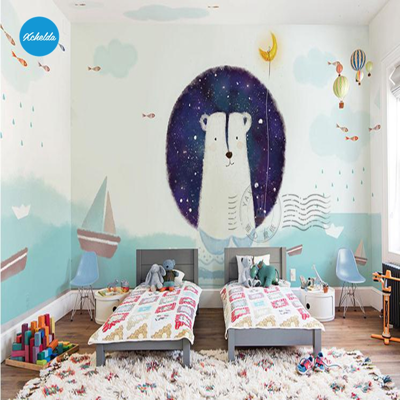 XCHELDA Custom 3D Wallpaper Design Cartoon Polar Bear Photo Kitchen Bedroom Living Room Wall Murals Papel De Parede Para Quarto kalameng custom 3d wallpaper design street flower photo kitchen bedroom living room wall murals papel de parede para quarto