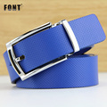 Leather belt fashion casual men's and women's general model of high-grade alloy agio contracted joker blue belt