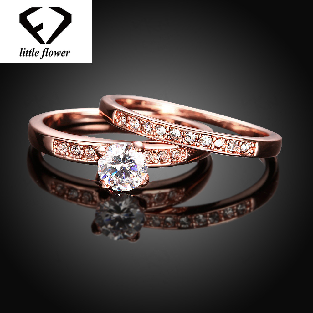 Fashion Bizuteria Peridot Diamod Rings For Women Wedding Gemstone Mystic Rings Set 14K Rose Gold Jewelry Anillos De Bizuteria