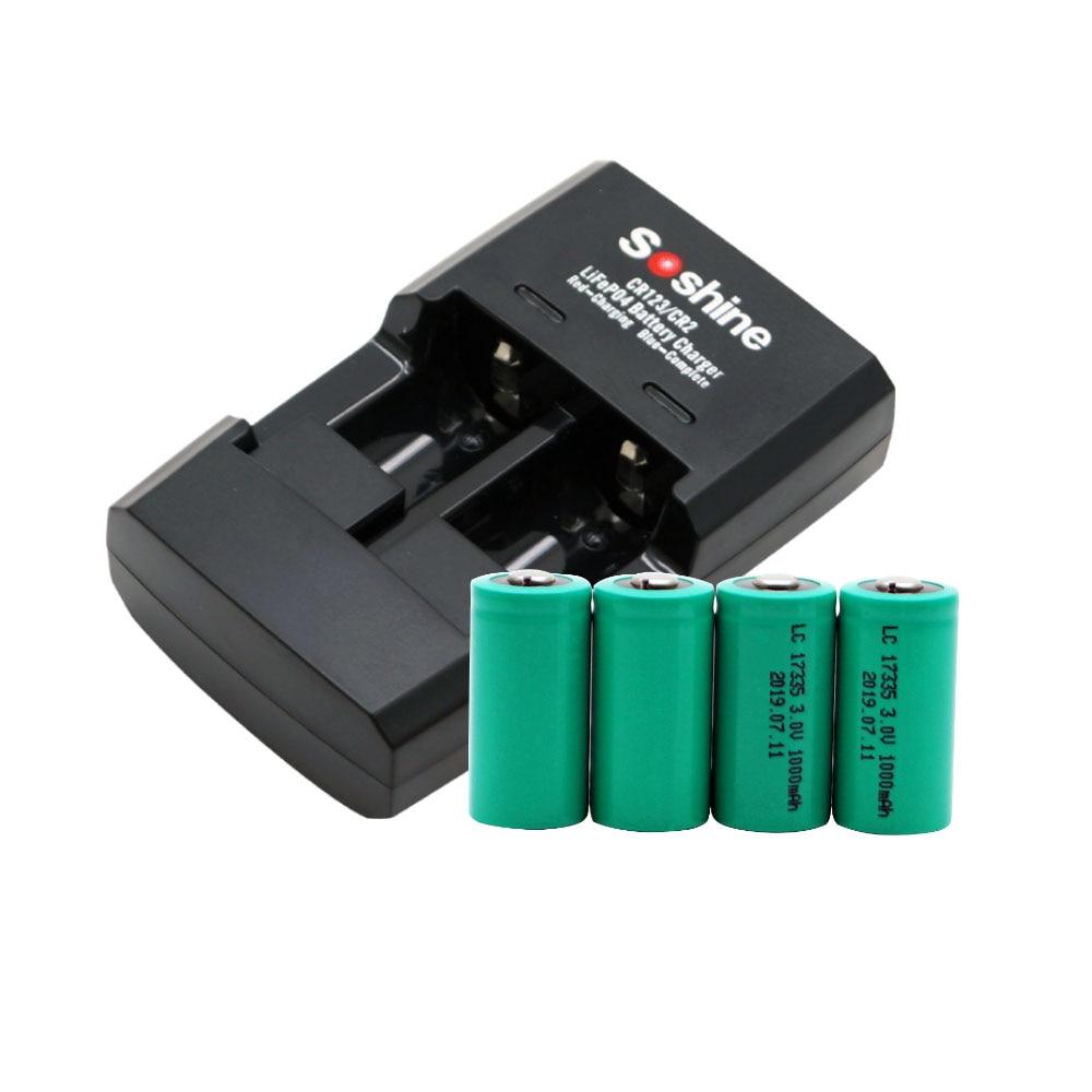 4x CR123A 3.0V 3V Rechargeable LiFePO4 chargeur de batterie CR123 avec chargeur de batterie LiFePO4