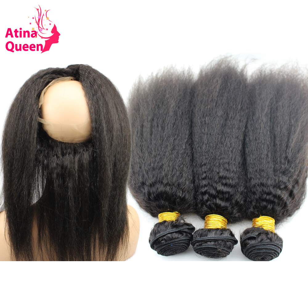 Atina Queen Pre Plucked 360 Lace Frontal with Bundle Afro Kinky Straight Remy Human Hair Weave