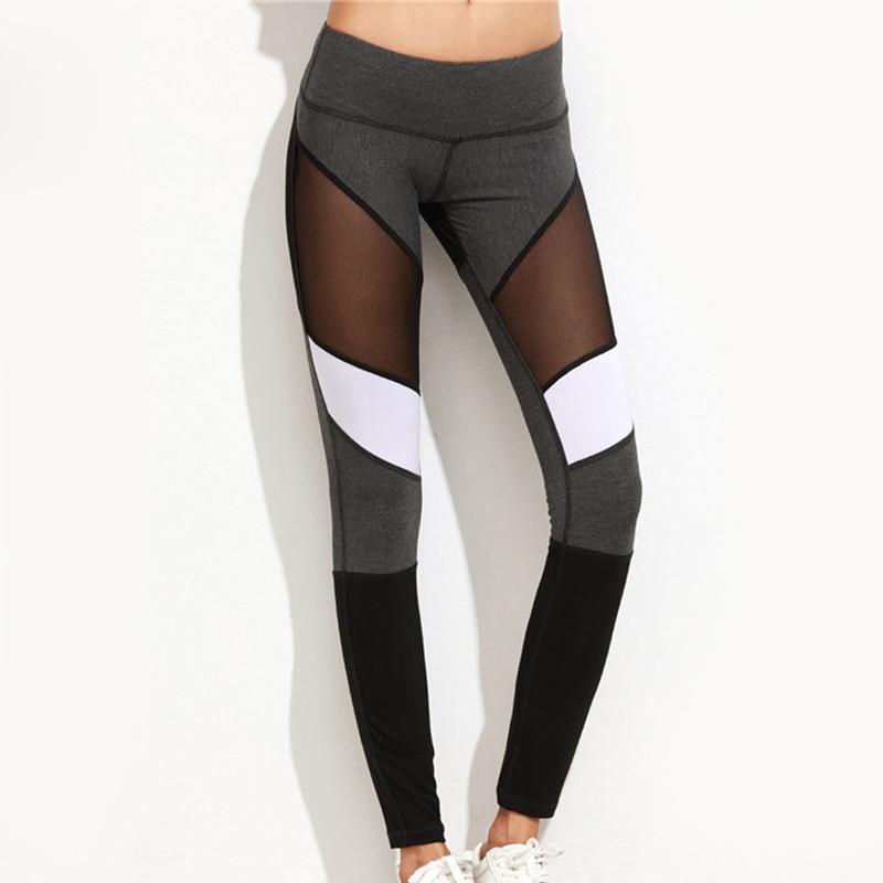 Women Sports Leggings Workout Fitness Gym Pants Mesh Spliced Yoga Skinny Stretch Leggings BB55