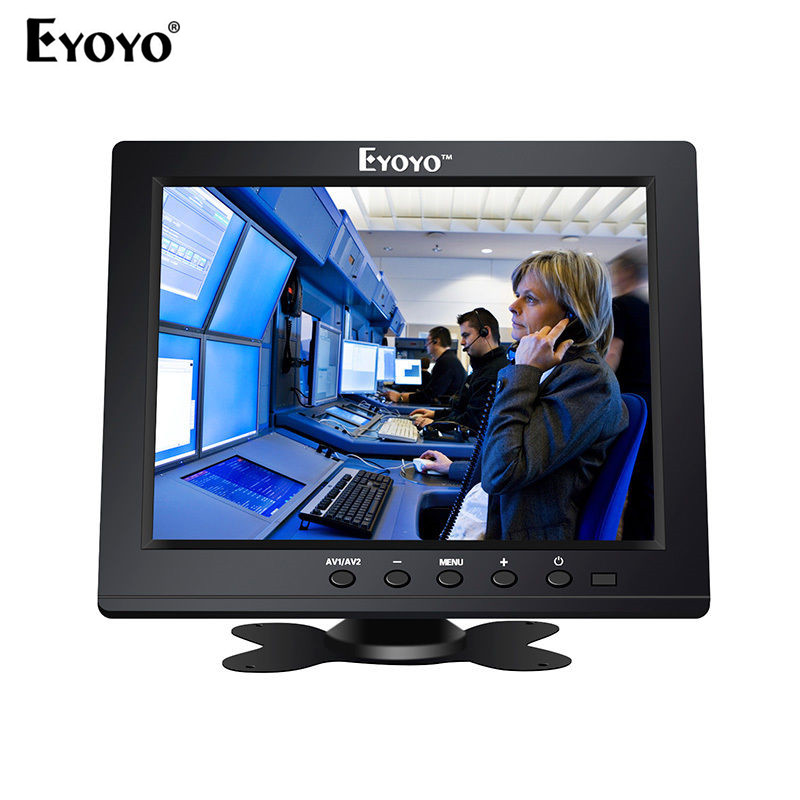 Eyoyo 8 TFT LCD Color Monitor Screen 1024x768 HDMl BNC with Speaker for CCTV,DVD,PC eyoyo c15 tft vga 15 touch screen lcd pos monitor retail restaurant bar pub touchscreen 1024x768 free shipping