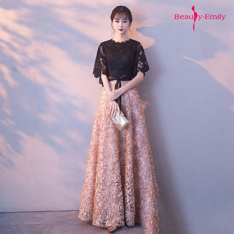 Beauty Emily Long O Neck Half Sleeve   Evening     Dresses   Black Lace Appliques Pleated Sequins Prom Gown Elegant Formal Party   Dresses
