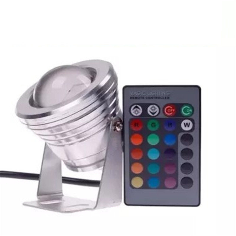 10W RGB LED Floodlight DC12V IP68 Waterproof Swimming Pool Aquarium Aquarium Pool Stainless Steel Car Floodlight