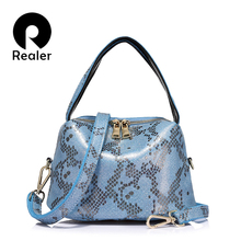 REALER brand new arrival women  serpentine genuine leather h