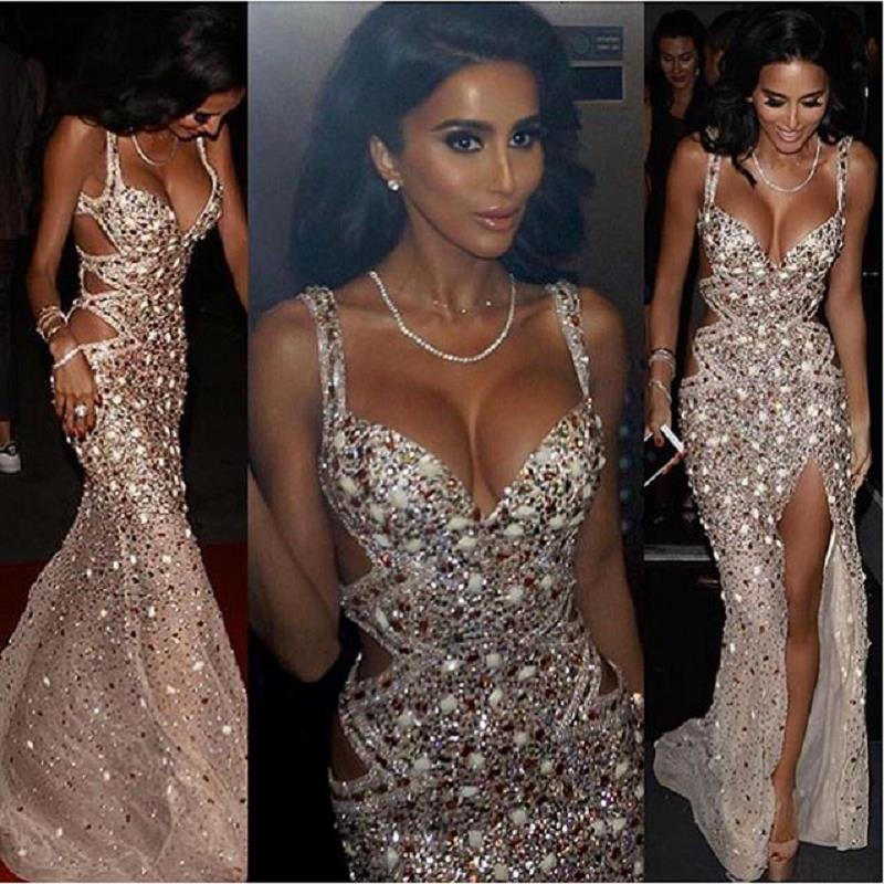 Sparkly Beaded Crystal Mermaid   Prom     Dresses   2019 Luxury Abiti Da Cerimonia Da Sera Side Split Formal Women Evening Gowns Party