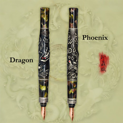 Fuliwen Vinatge 10K Fountain Pen Colored Celluloid Dragon / Phoenix Fine Point 0.5mm Gift Pen & Wooden Gift Box for Collection