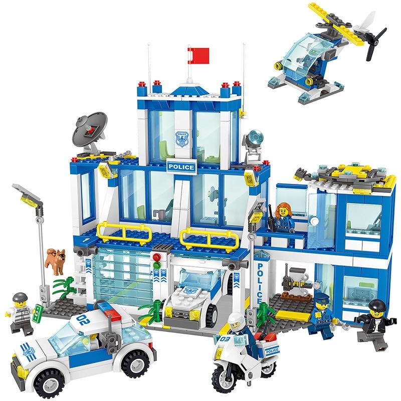 730pcs Children s building blocks toy Compatible city Police headquarters DIY figures Bricks birthday gifts