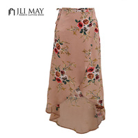 JLI MAY Women Boho Split Long Skirt Print Floral Sexy Summer Casual Beach Chiffon Bohemian White