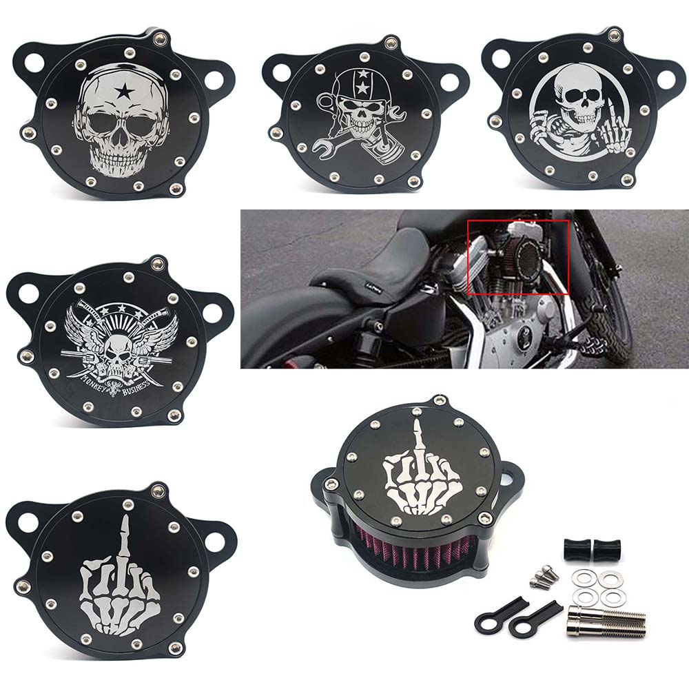 Air Filter Cleaner Intake Motorcycle Accessories Filter System Kit For <font><b>Harley</b></font> Sportster XL1200 <font><b>Iron</b></font> <font><b>883</b></font> image