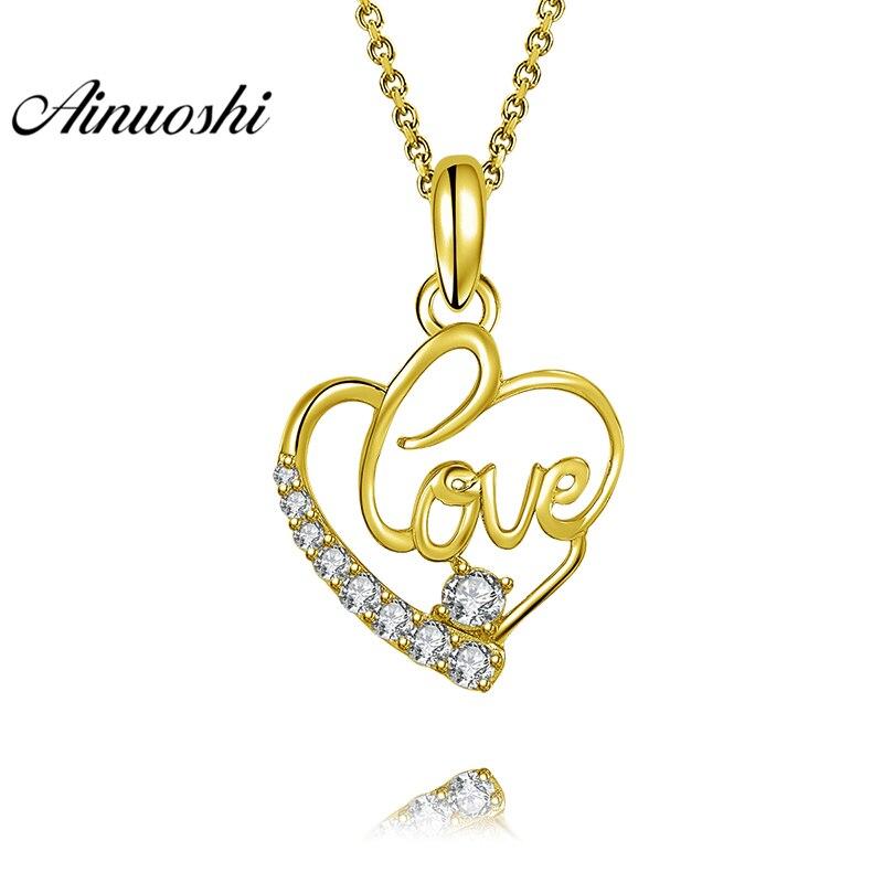 Herrlich Ainuoshi 10 Karat Solide Gelb Gold Anhänger Herz Anhänger Sona Diamant Frauen Männer Liebhaber Schmuck Hohlen Liebe Buchstaben Separaten Anhänger