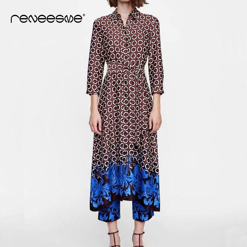Vintage femmes robe à manches longues col rabattu une ligne géométrique imprimé dames robes printemps été ceintures longues femmes vestidos