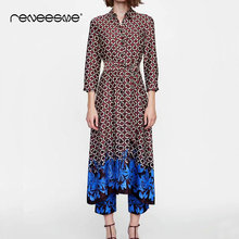 vintage women dress long sleeve turn down collar a line geometric print ladies dresses spring summer sashes long female vestidos long sleeved dress women 2019 spring summer new simple stripes turn down collar slim a line casual elegant dress midi s xl