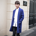 2016 autumn new wool men trench coat men fashion knitted cardigan brand high-quality blue long jacket men pull homme C16