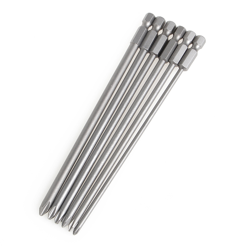 6Pcs/Set 1/4'' Shank 150mm Long S2 Steel Magnetic Hex Cross Head Screwdriver Bit H02 стоимость