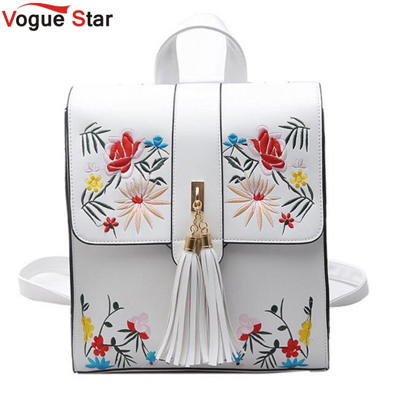 Vogue star High Quality PU Embroidery Backpack School Bags For Teenagers Casual Black Trave Backpack Women Mochila Sac LB217