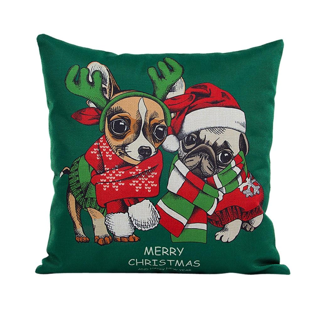 45*45cm Flax New Christmas Xmas Dog Throw Pillow Case Sofa Bed Decor Throw Pillow Cover Cushion Cover Pillowcase For Children